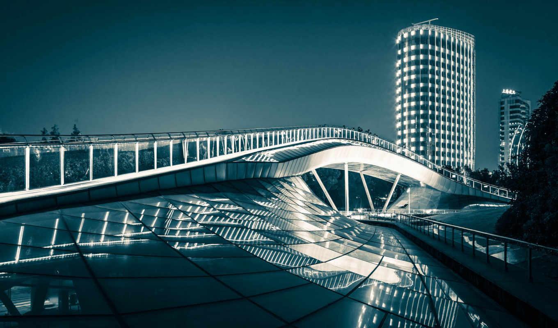 радуга, shanghai, мост, high, закат, free, desktop,
