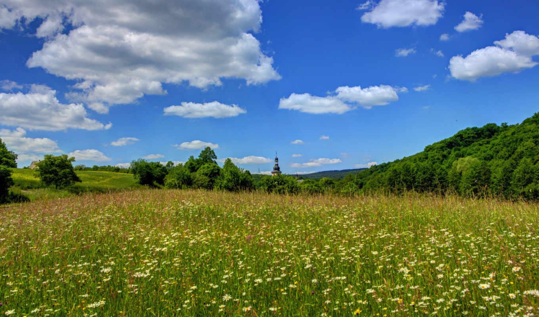 природа, landscape, небо, облака, германия, поля,