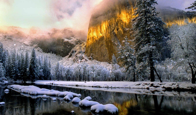 winter, пейзажи, снег, иней, река, деревья, зимы, зимние,