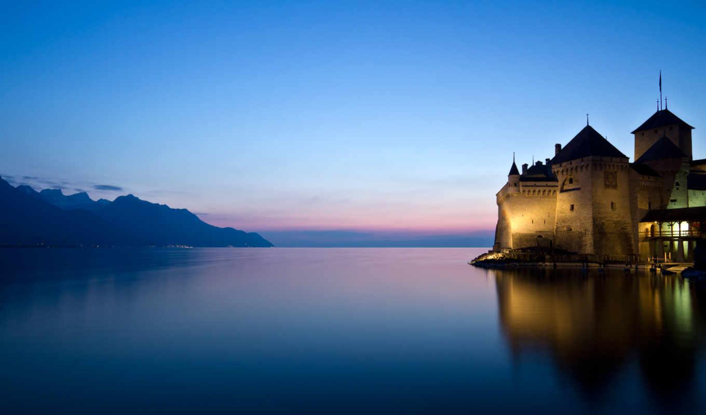 горы, замок, озеро, закат, water, отражение, landscape, лес,