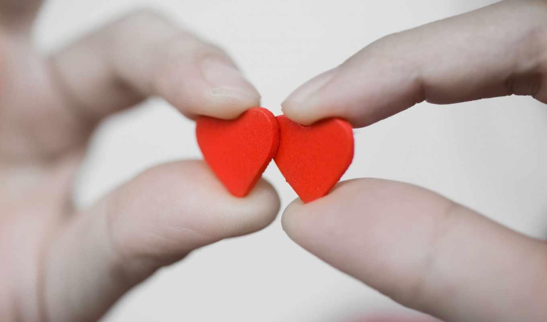 сердце, пальцы, руки, красный