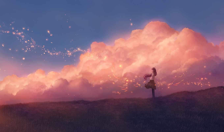anim, облако, art, romantic, love, sparkle, anime, artist, oboi, world, стикер
