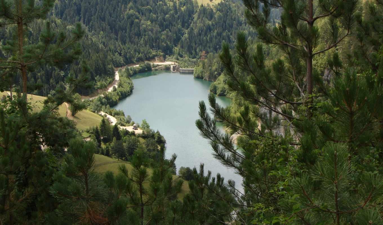 озеро, лесу, красивых, горном, озере, обоев, краси