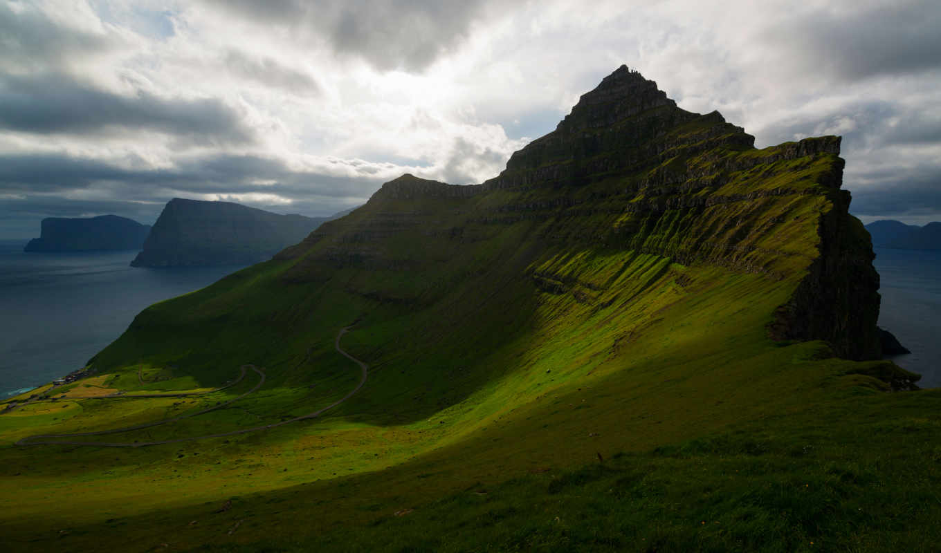 , faroe, trollanes, islands, landscapes, clouds,