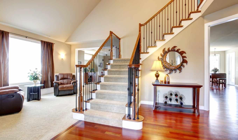 гостиная, лестница, кресла, паркет,