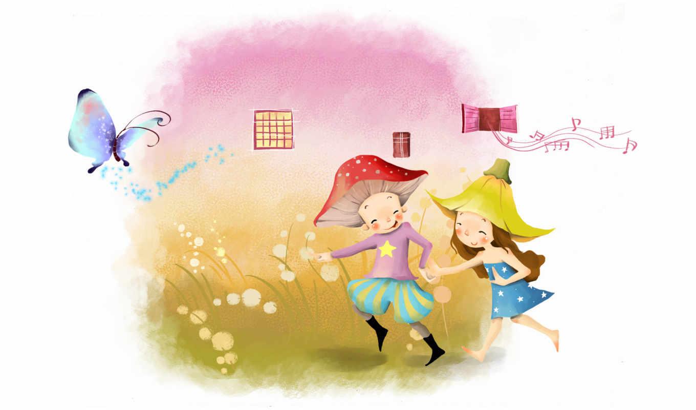 нарисованные, дети, мальчик, девочка, музыка, окна, игра, бабочка, трава, бег, босиком