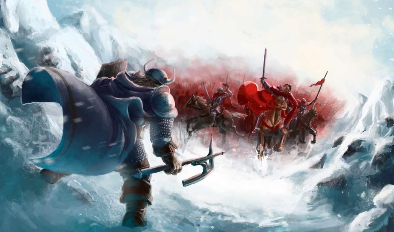 фэнтези, art, армия, viking, схватка,
