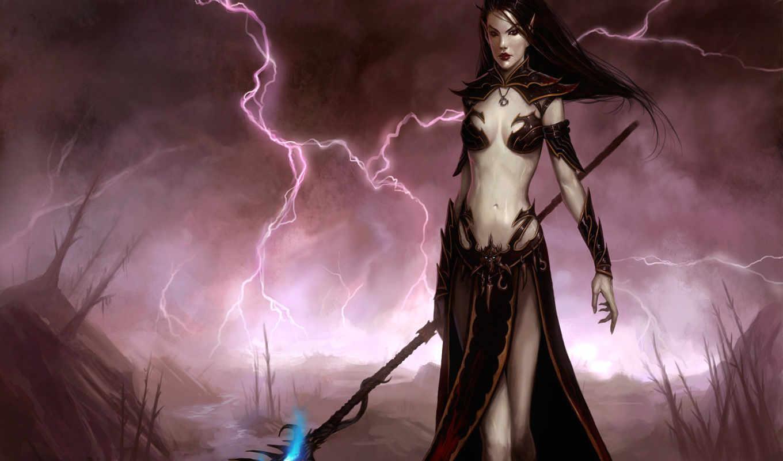 эльф, девушка, магия, art, посох, lightning, эльфы,