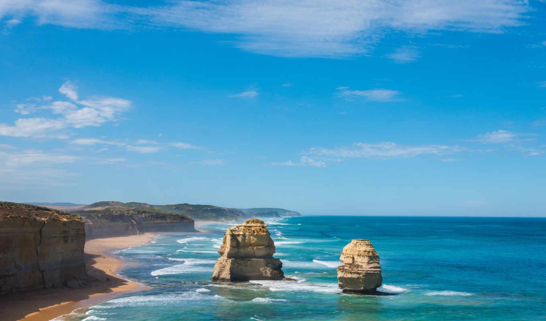 ocean, природа, австралия, море, берег, пейзажи -, полумесяц, голова, скалы, landscape, обрыв,