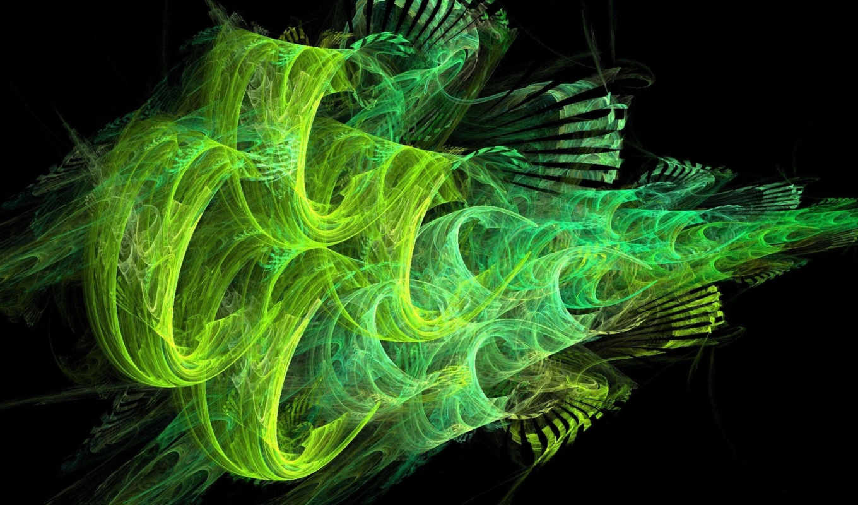 зелёный, линии, black, дым,