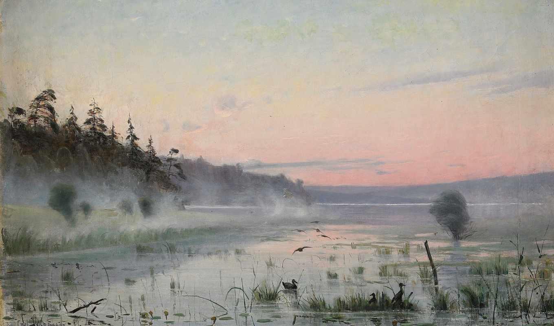 carl, картинка, нефть, johansson, со, дымка, утренняя, озеро, landscape,