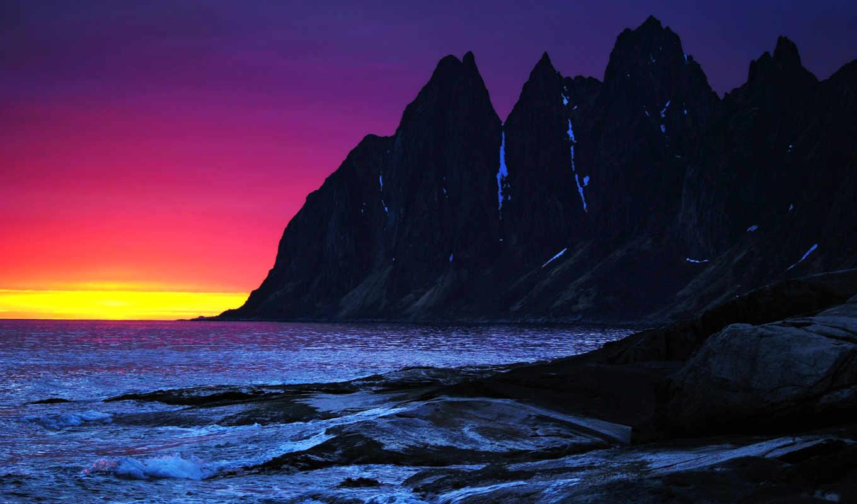закат, горы, скалы, море, небо, вечер, камни, waves,