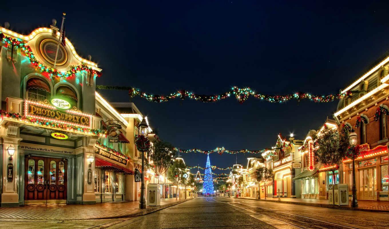 елка, город, фонари, праздник, год, свет, новый, гирлянда, christmas, улица, ночь, огоньки, украшения,