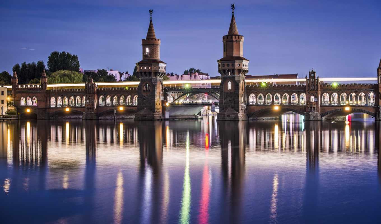 city, река, desktop, photos, natue, lights, мост, ежедневно, красивые, free, только, заставки, дома, oberbaum,