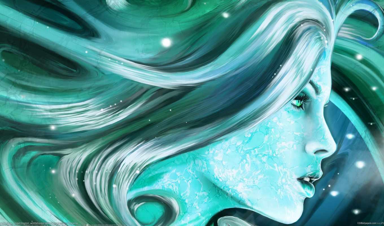 арт, девушка, профиль, голубые тона, волосы, искорки