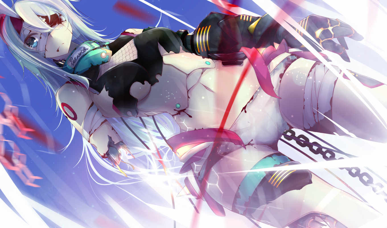 anime, robot, цепь, девушка, глаз, art, механизм, повязка, оригинал, yotayotayota,