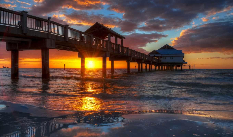 пляж, clearwater, florida, закат, pier, fl,