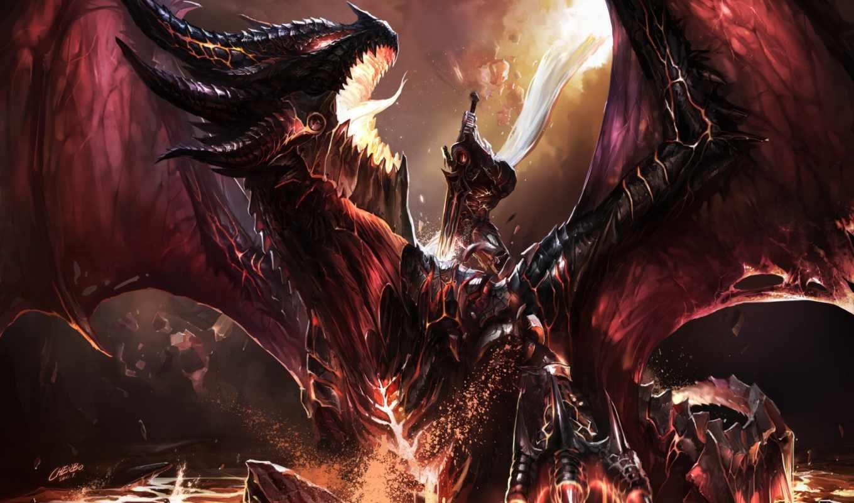 фанарт, схватка, эльф, воин, меч, дракон, огонь, deathwing, warcraft, world, картинка, kill, chenbo, art,