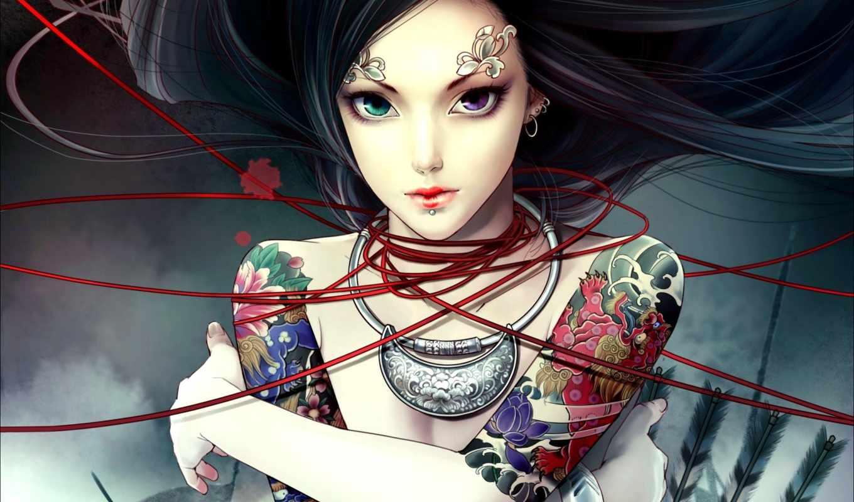 девушка, anime, широкоформатные, аватары, татуировка, разных, stars,