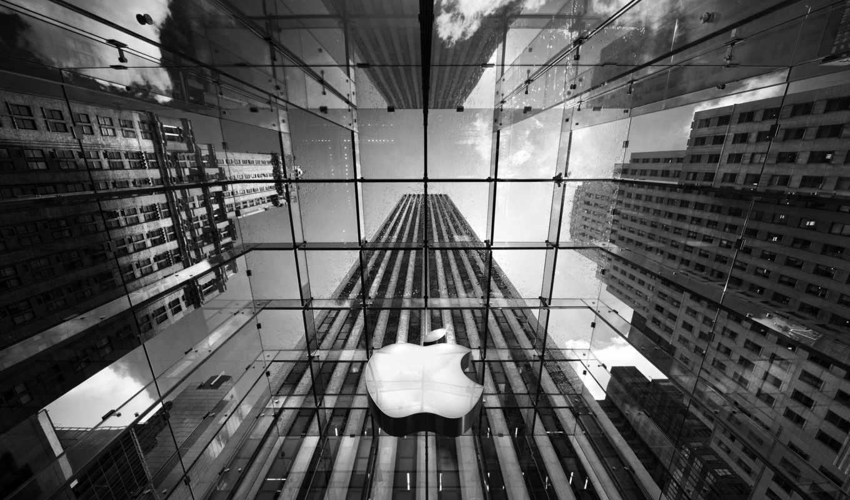 apple, чёрно, офис, логотип, белое, белая, город, небоскребы,