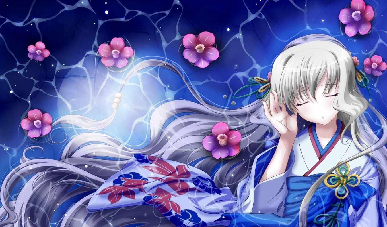 anime, девушка, кимоно, хорошего, качества, торрент, art, лежит, плавают, волосы,