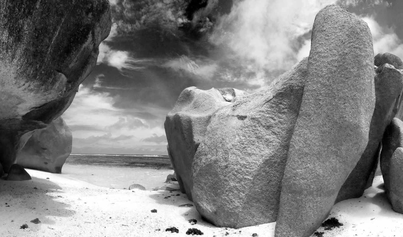 черно, белое, скалы, море, три, нояб, страница,