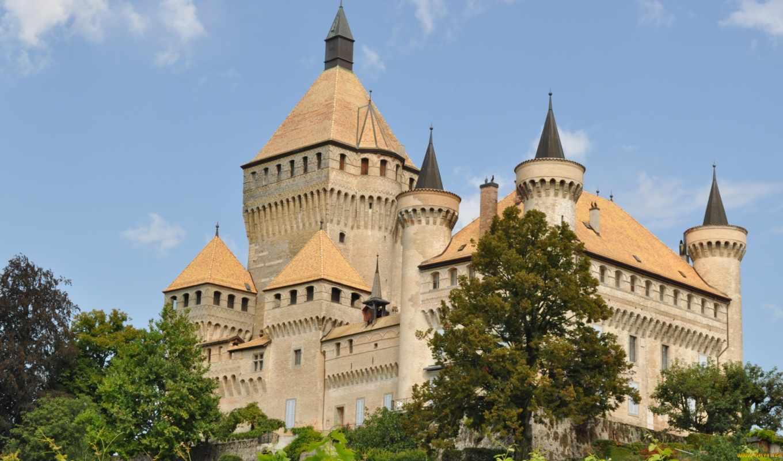 города, небо, обою, смотреть, vufflens, hdr, castles, размере, истинном, замки, швейцария,