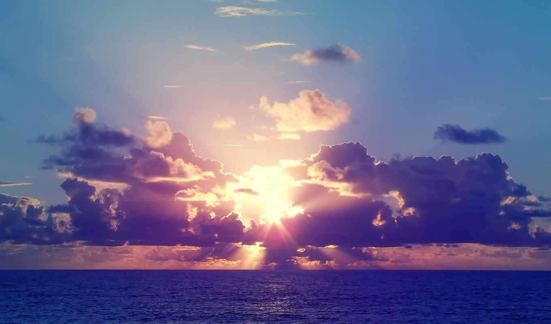небо, закат, море, sun, тучи, природа,