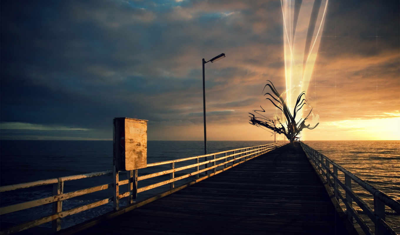 осень, море, листья, sun, свет, февр, pier, графика,