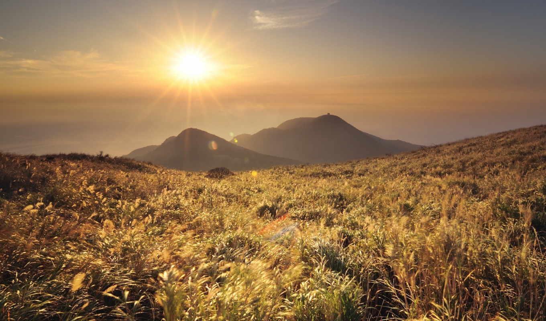 утро, трава, горы, природа, пейзажи -, sun, взгляд, холмы, небо, страница, лес,
