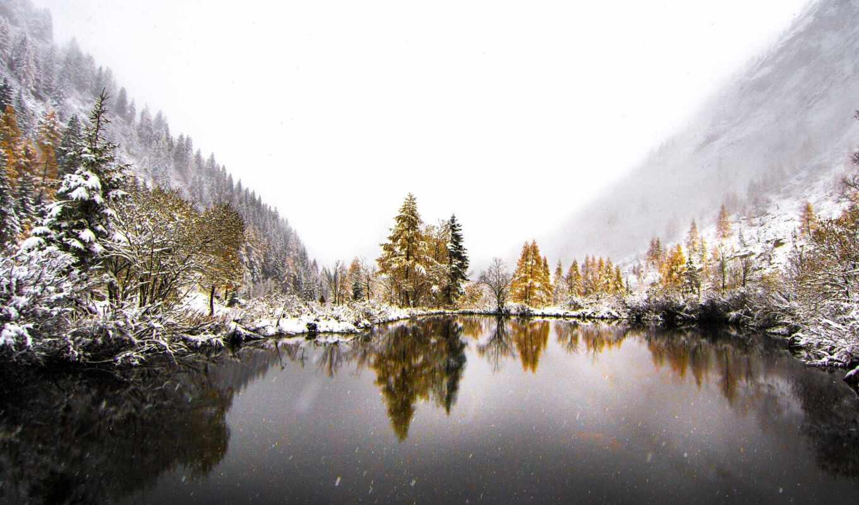 winter, снег, гора