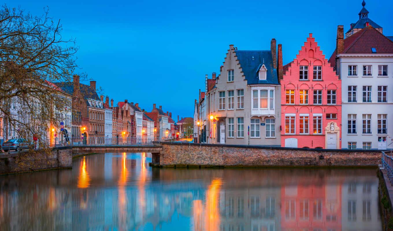 брюгге, город, брюгге, бельгия, мост, house, февраль, панорама, канал, минск, вечер