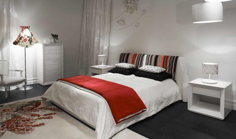 спальня, белый, кровать, красный, kenzo, картинка, منزل, iç, داخلی,
