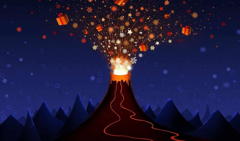 christmas, volcano, vector, عيد, duvar, kağıtları, подарки, взрыв, new, картинка, нравится,