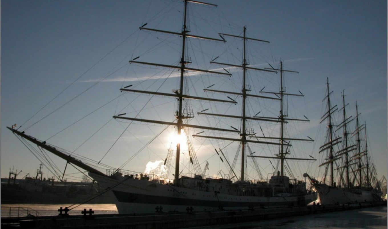 корабли, судно, парусник, море, сборник, от, корабль, графика,