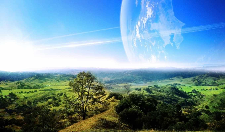landscape, космос, зелёный, planet, зелёная, долина, совершенно, категория,