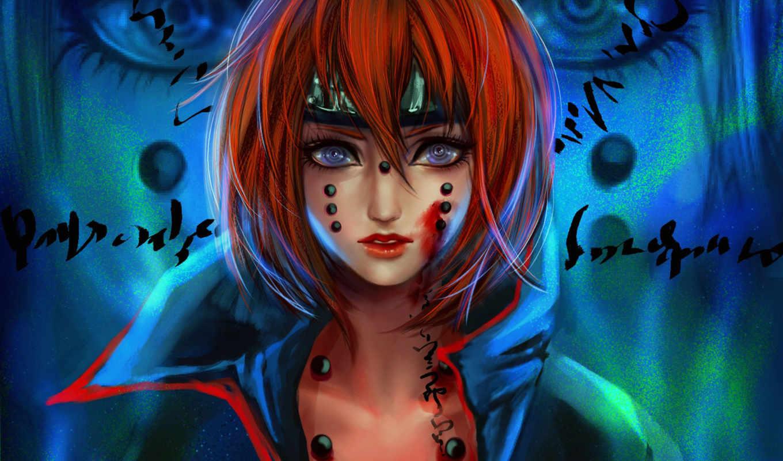 девушка, art, кровь, naruto, надписи, взгляд, rikamello, картинка, рыжая,