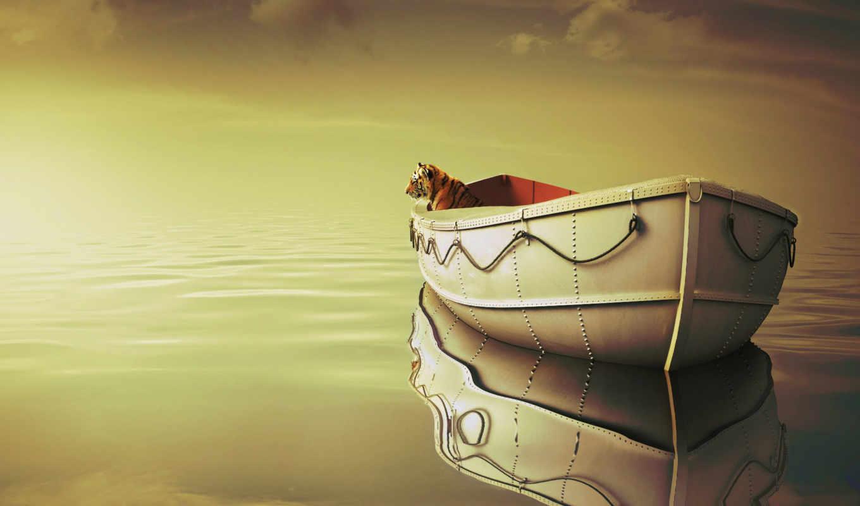 лодка, тигр, море, oblaka, clouds, изображение,