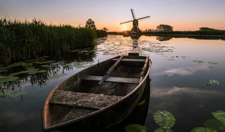 ветряк, landscape, интерес, фото, id, нидерланды, natural, восход, much, закат
