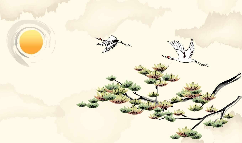 вектор, crane, sun, природа, арт