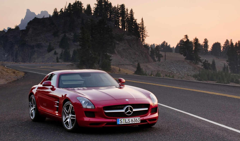 sls, amg, benz, new, car, красный,