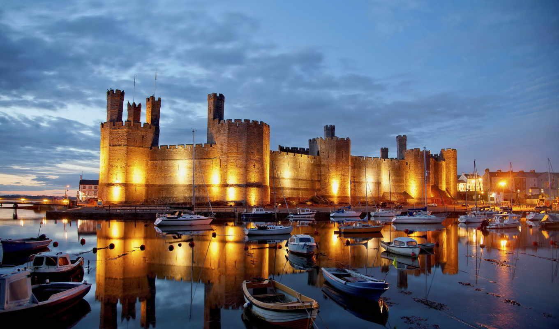 замок, caernarfon, castle, отражение, лодки, england, карнарвон, яхты, города, бухта,