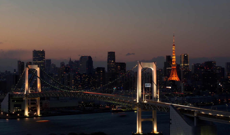 город, огни, вечер, мост, города, река,