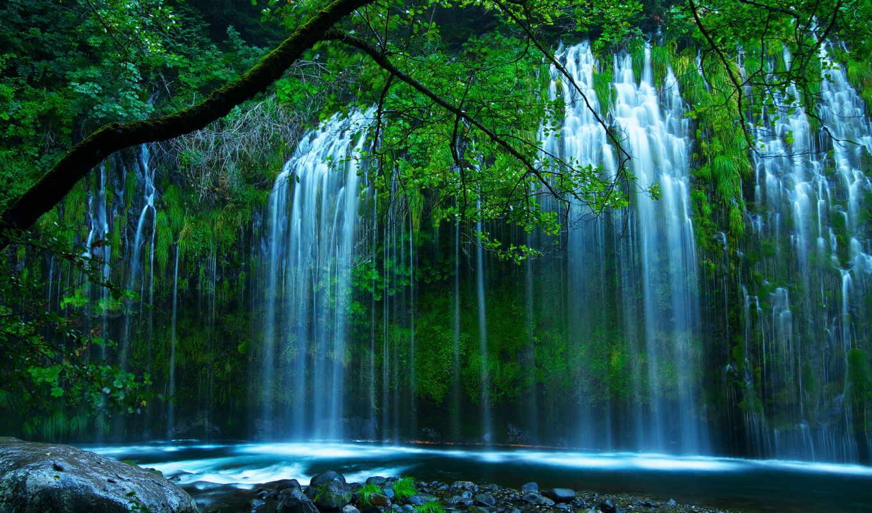 природа, водопад, разделе, река, лес,