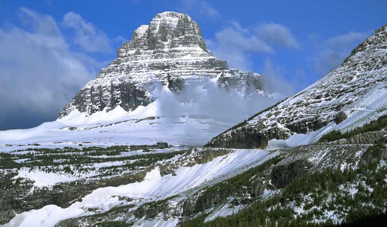горы, горах, снежные, теме, скалы, зимой,