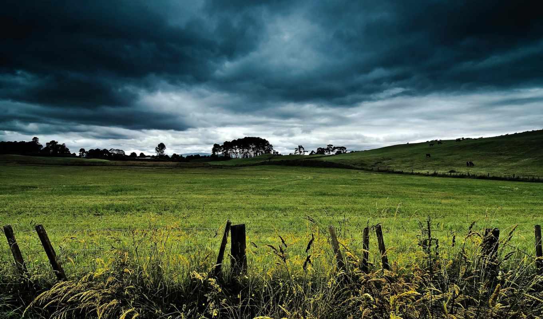 hill, clouds, landscape, поле, небо, fantasy,