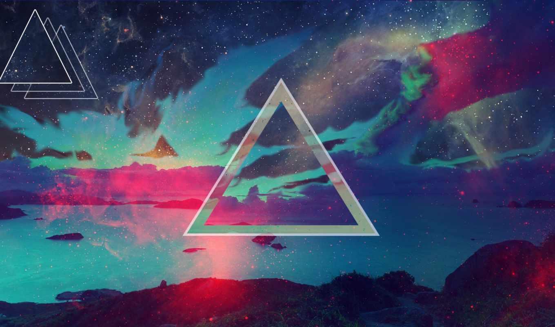 свет, треугольники, треугольник,