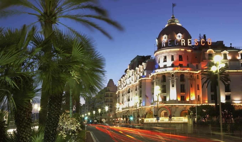 hotel, nice, negresco, francii, огни, улица, вечер, город