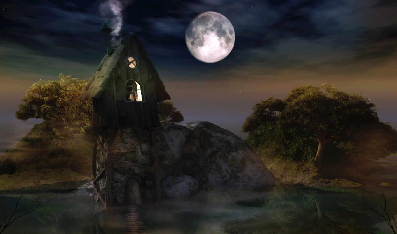 обои, ночь, луна, деревья, звёзды, изба, вода, фот