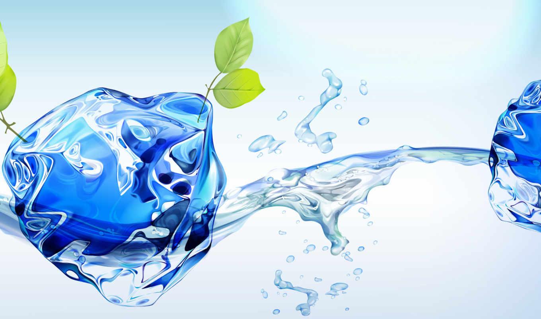 eco, краски, лед, растения, графикой, трехмерной, фона,